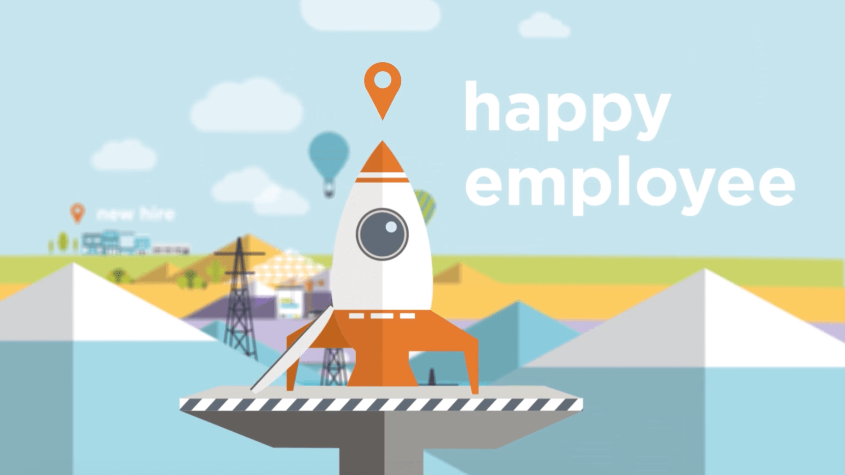 Rocket with text                                                         happy employee
