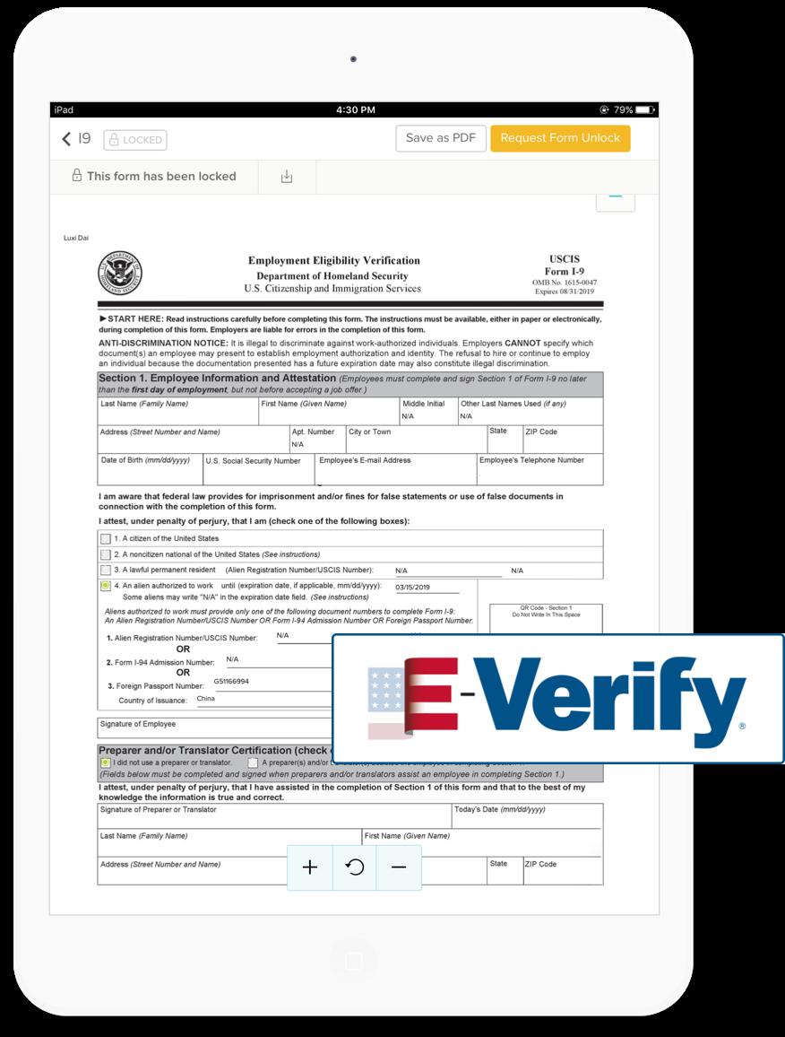 E-verify on tablet screen