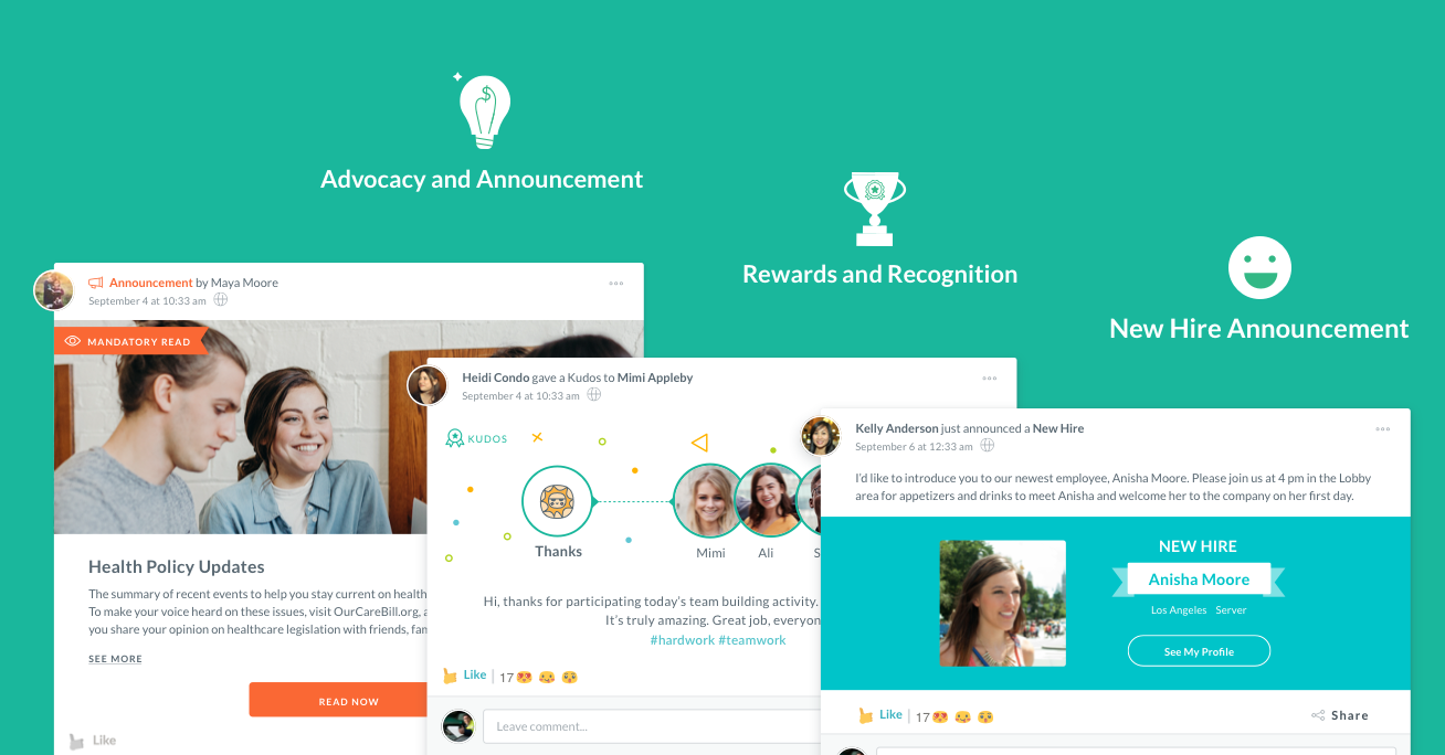 advocacy and announcement, rewards and recognition, new hire announcement